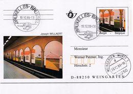 Belgium Belgie 1999 Stationery Card: Art Paintings P499: Art Paintings; Joseph WILLAERT; Train Railway Metro - Stamped Stationery