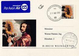 Belgium Belgie 2002 Air Mail Postal Stationery Card P543: Art Paintings;  Antoon Van Dyck - Sunflower Autoprotret - Stamped Stationery