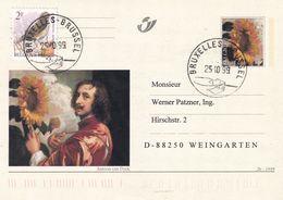 Belgium Belgie 2002 Postal Stationery Card P543: Art Paintings;  Antoon Van Dyck - Sunflower Autoprotret; Birds; Vogel - Stamped Stationery