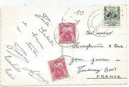 TAXE 5FR X2 TAVERNY 1955 CARTE CARTOLINA LAGO MISURINA - Lettres Taxées
