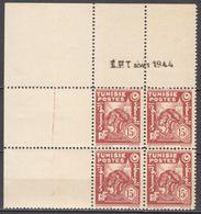 N° 266 En Bloc De 4 Coin Daté 08/1944 - X X - ( C 1626 ) - Tunisie (1888-1955)