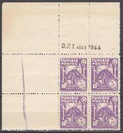 N° 260 En Bloc De 4 Coin Daté 08/1944 - X X - ( C 1644 ) - Tunisie (1888-1955)
