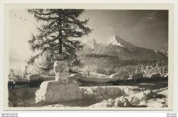 AK  Berchtesgaden Blick Von Straße Zw. Villa Und Café Mit Hindenburg Aus Schnee Schneefigur 1931 - Berchtesgaden