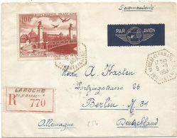PA 100FR CITT SEUL LETTRE REC AVION C. PERLE LA ROCHE CLERMAULT 9.11.1953 POUR ALLEMAGNE - 1921-1960: Moderne