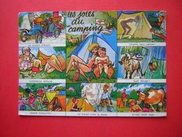 CPM  HUMOUR ILLUSTRATION LES JOIES DU CAMPING  MULTI VUES  VOYAGEE 1969 TIMBRE - Humour