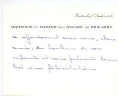 Visitekaartje - Carte De Visite - Adel Noblesse - Mr & Mme Van Geluwe De Berlaere - Buitenhof Audenarde - Cartes De Visite