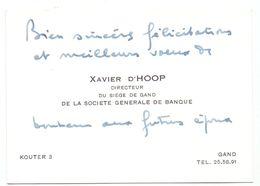 Visitekaartje - Carte De Visite - Directeur Soc. Générale Gand - Xavier D'Hoop - Gent - Cartes De Visite