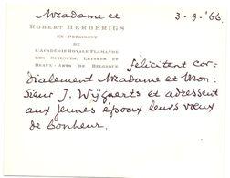Visitekaartje - Carte De Visite - Mme & Robert Herberigs - Ex President De L'Academie Royale Flamande - Cartes De Visite