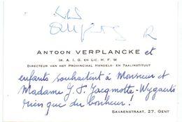 Visitekaartje - Carte De Visite - Ir. Lic. Antoon Verplancke , Directeur Prov. Handels & Taalinstituut - Gent - Cartes De Visite