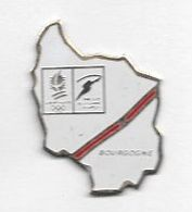 Pin's  Ville, Région, Sport  J.O  ALBERTVILLE  1992  ( 73 ) Passage  Flamme  Olympique  En  BOURGOGNE - Olympic Games