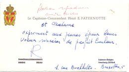 Visitekaartje - Carte De Visite - Capitaine Commandant Henri Paternotte - Bruxelles - Cartes De Visite