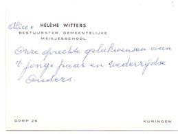 Visitekaartje - Carte De Visite - Bestuurster Meisjesschool - Hélène Witters - Kuringen - Cartes De Visite