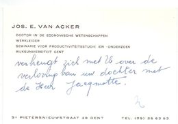 Visitekaartje - Carte De Visite - Doctor RUG - Jos E. Van Acker - Gent - Cartes De Visite