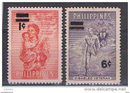 FILIPPINE:  1959  SOPRASTAMPATI  -  S. CPL. 2  VAL. S.G. + L. -  YV/TELL. 467/68 - Philippines