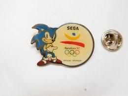 Beau Pin's , Jeu Sega , Sonic , JO Jeux Olympiques Barcelone 92 - Jeux