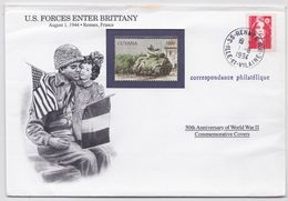 Guyana Us Forces Enter Brittany After Taking Normandy Tank Stamp WW2 Cover Timbre Correspondance Philatélique Rennes - Guyana (1966-...)