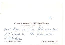 Visitekaartje - Carte De Visite - Pastoor - L' Abbé Albert Heynssens - Rhode St Genèse - Cartes De Visite