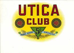 VINTAGE - ETICHETTE PER SCATOLE SIGARI - UTICA CLUB HAVANA FILTER -  FIOR DI STAMPA 10/10 FTO 22X15 ORIGINALE - Labels