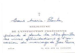 Visitekaartje - Carte De Visite - Soeur Marie Paule - Religieuse De L' Instruction Chrétienne - Liège - Cartes De Visite