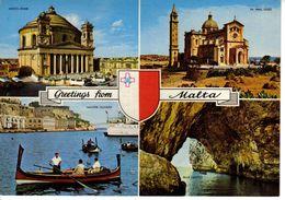 Malte Malta N°783 26 Greetings From Malta Mosta Dome Ta' Pinu Gozo Maltese Dghaisa VOIR DOS - Malte