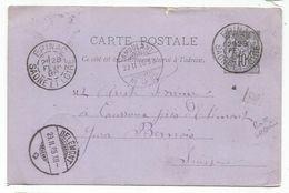SAONE ET LOIRE ENTIER SAGE 10C TYPE A EPINAC 28 FEVR 1888 + BOITE URBAINE C POUR SUISSE - Postmark Collection (Covers)