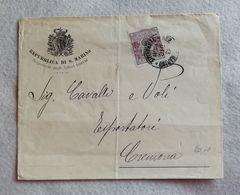 Busta Di Lettera Repubblica Di S.Marino Segreteria Affari Interni Per Cremona 1908 - Saint-Marin