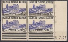 N° 238 En Bloc De 4 Coin Daté 28/07/42 - X X - ( C 1578 ) - Tunisie (1888-1955)