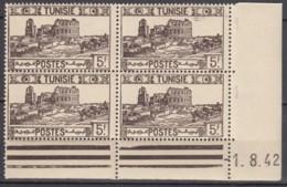 N° 240 En Bloc De 4 Coin Daté 01/08/42 - X X - ( C 1441 ) - Tunisie (1888-1955)