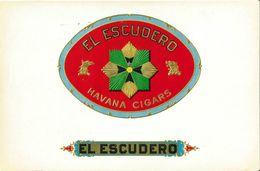 VINTAGE - ETICHETTE PER SCATOLE SIGARI - EL ESCUDERO HAVANA CIGARS -  QUALITA' 10/10 FTO 24X16,5 ORIGINALE, RILIEVO - Labels