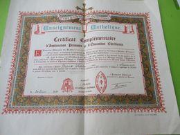Diplôme Religieux/Enseignement Catholique/Vive Le Christ Qui Aime Les Francs/Certificat Complémentaire/LILLE/1945 DIP244 - Diploma & School Reports