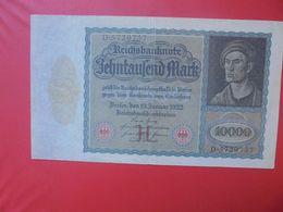 Reichsbanknote 10.000 MARK 1922 VARIETE N°1 CIRCULER (B.15) - 10000 Mark