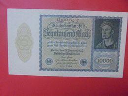Reichsbanknote 10.000 MARK 1922 VARIETE N°3 PETIT FORMAT ET 7 CHIFFRES CIRCULER (B.15) - 10000 Mark