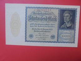 Reichsbanknote 10.000 MARK 1922 VARIETE N°3 PETIT FORMAT ET 8 CHIFFRES CIRCULER (B.15) - 10000 Mark