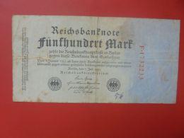 Reichsbanknote 500 MARK 1922 VARIETE CHIFFRES ROUGE CIRCULER (B.15) - 500 Mark