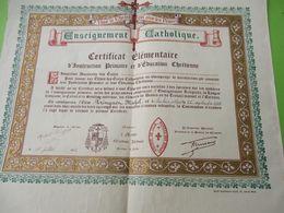 Diplôme Religieux/Enseignement Catholique/Vive Le Christ Qui Aime Les Francs/Certificat élémentaire/LILLE/1942    DIP252 - Diploma & School Reports