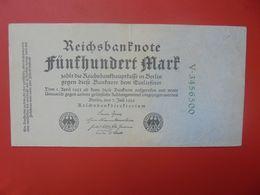 Reichsbanknote 500 MARK 1922 VARIETE CHIFFRES VERT ET 7 CHIFFRES CIRCULER (B.15) - [ 3] 1918-1933 : Repubblica  Di Weimar