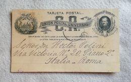U.P.U. Cartolina Postale Republica De Costa Rica Per Roma 1888 - Costa Rica