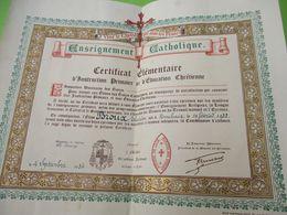 Diplôme Religieux/Enseignement Catholique/Vive Le Christ Qui Aime Les Francs/Certificat élémentaire/LILLE/1934    DIP250 - Diploma & School Reports