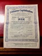 L' URBAINE - CAPITALISATION  -------------  Titre  De  6.000 Frs - Bank & Insurance