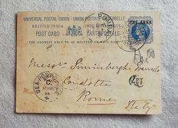U.P.U. Cartolina Postale British India Half Anna Da Bombay Per Roma 1894 - India (...-1947)
