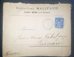 LETTRE 1897 - ST MEME-LES-CARRIERES Pour BORDEAUX - Postmark Collection (Covers)