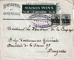 """WO 1 : D Bez In B  GEÏLLUSTR.FIRMA Bf  """"MAISON WINS/LA LOUVIERE""""  2 PZ BZ 5 CENTIMES """"LA LOUVIERE 3.8.1916""""  + Censuur - Guerre 14-18"""
