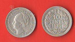 10 Cents 1935 Olanda Nederland Holland Pays-Bas - [ 3] 1815-… : Royaume Des Pays-Bas
