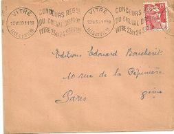 ILLE & VILAINE - Dépt N° 35 = VITRE 1950 =  Flamme KRAG   'texte Ondulé' CONCOURS REGal DU CHEVAL BRETON ' - Marcophilie (Lettres)
