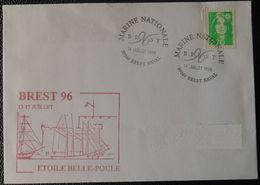 150  Etoile Belle Poule  Brest 96 13 17 Juillet  Brest Naval Marine Nationale 14 Juillet 1996 - Marcophilie (Lettres)