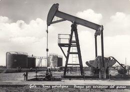 GELA-CALTANISSETTA-ZONA PETROLIFERA-POMPA PER ESTRAZIONE DEL GREGGIO-CARTOLINA  VIAGGIATA NEL 1964 - Caltanissetta