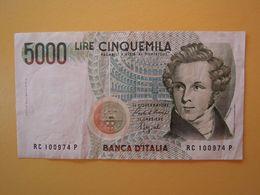 5000 LIRE  BELLINI  - Banconota Buone Condizioni SPLENDITA - [ 2] 1946-… : Repubblica