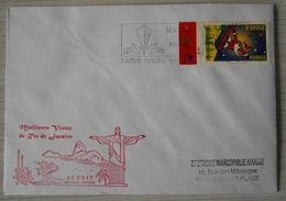 010 Marine Nationale Meilleurs Voeux De Rio De Janeiro Aconit 28/12/98 - 2/1/99 Cachet Paris Naval 31 12 99 - Marcophilie (Lettres)