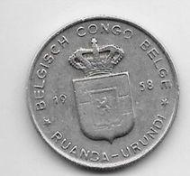 Belgium Congo 1 Franc  1958   Km 4   Vf - 1951-1960: Baudouin I