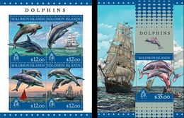 Salomon 2016, Animals, Dolphins, Ships, 4val In BF +BF - Dolphins